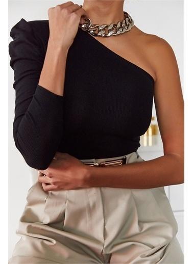 XHAN Siyah Tek Kol Büzgülü Bluz 1Kxk2-44701-02 Siyah